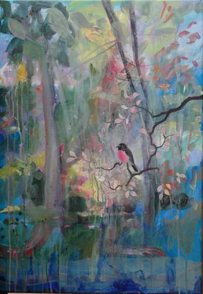 Landscape with Pink Robin